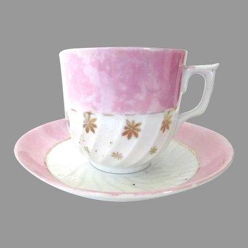 Antique Pink Lusterware Teacup & Saucer Gold Trim