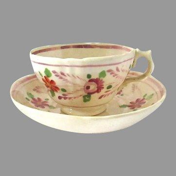 Antique Creamware Lusterware Teacup & Saucer