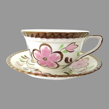 Antique Lusterware Copper Luster Teacup & Saucer Stoke On Trent Grays Pottery