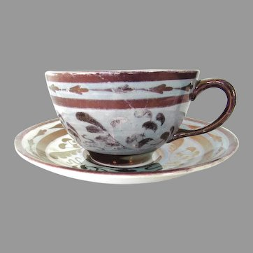 Antique Copper Luster Teacup & Saucer Old Castle England
