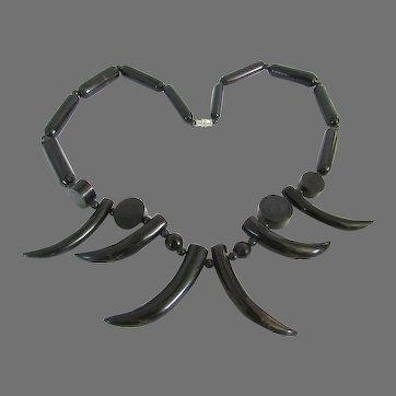 Rare Black Coral Tribal Horn Tooth Necklace