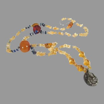 Gorgeous Moroccan Berber Taureg Necklace Amber Citrine Lapis Silver Ganesha Pendant