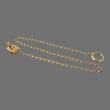 """Simmons or Krementz Yellow Gold Filled Pocket Watch Chain 16"""" Long"""