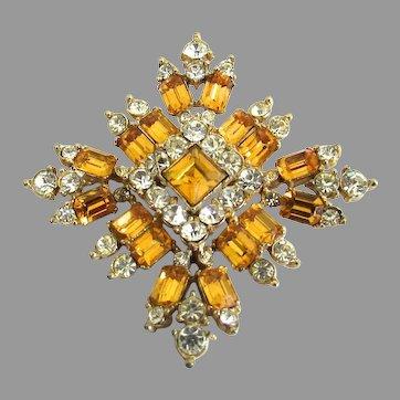 Vintage Topaz Yellow Rhinestone Bogoff Brooch Pin
