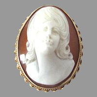 High Relief 14K Gold Cameo Silhouette Brooch Pendant