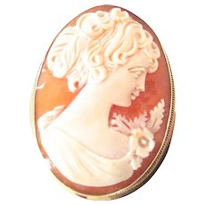 14K Gold Flora Cameo Silhouette Brooch Pin Pendant