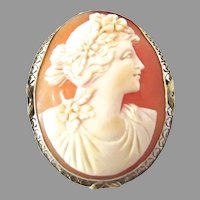 14K White Gold Art Deco Cameo Filigree Flora Goddess Brooch