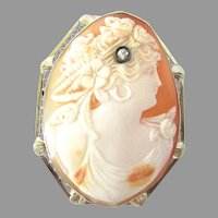 14K White Gold Large Art Deco Diamond Cameo Brooch Pendant Flora Goddess