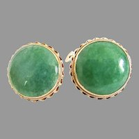 14k Gold Apple Green Jade Large Button Earrings Post Clips