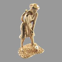 14K Yellow Gold Lady Golfer Pearl Mechanical Charm Pendant