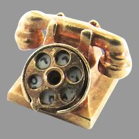Vintage 14K Gold Rotary Telephone Hello I love You Mechanical Charm