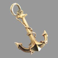 14K Yellow Gold 585 Nautical Anchor Charm Pendant 3 D