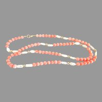 Vintage 14K Gold Coral Bead & Rice Pearl Necklace