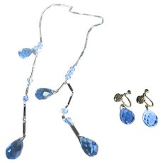 Art Deco Cornflower Blue Crystal Lariat Necklace & Earring Set Demi Parure
