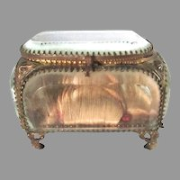Antique French Silk Beveled Glass Jewelry Casket Box