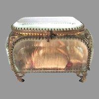 Antique French Silk Beveled Glass Jewelry Casket Box