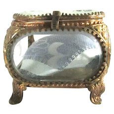 Rare French Beveled Glass Jewelry Casket Etched Birds