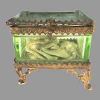 Rare French Beveled Glass Jewelry Trinket Casket Box With Vaseline Glass