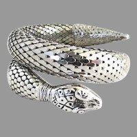 Vintage Silver Tone Whiting Davis Mesh Snake Bracelet