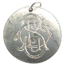 Victorian Love Token Seated Liberty Dime Silver 1877 Monogram SOL LOS