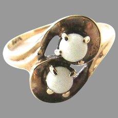 10K Opal Ring Toi Et Moi Vintage Midi