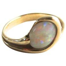 14K Gold Opal Ring Modern Snake