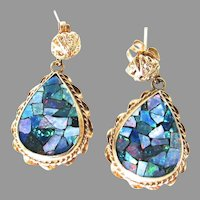 Black Opal Mosaic 14K Gold Dangle Earrings