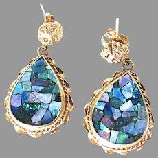 Black Opal Mosaic 14K Gold Dangle Earrings