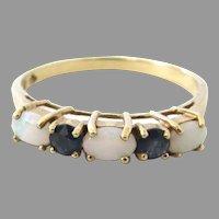 10K Gold Opal Blue Sapphire Ring Half Hoop Eternity Band