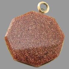 Vintage Goldstone Octagon Fob Pendant Large Charm