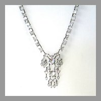 Sterling Silver Art Deco Crystal Necklace Negligee
