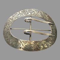 Victorian Sterling Silver Chased Sash Buckle Brooch