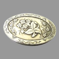 English Victorian Sterling Silver Brooch Forget Me Nots