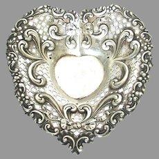 Victorian Gorham Sterling Silver Repousse Heart Bon Bon Dish
