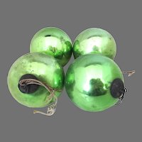 Rare German Antique Kugel Christmas Ornaments Green Set 4