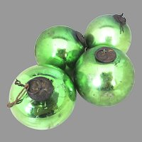 Rare German Antique Kugel Christmas Ornaments Green Set 4