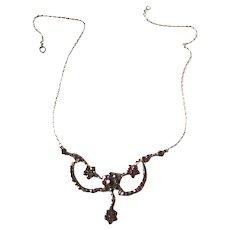 Bohemian Garnet Festoon Necklace