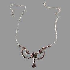 Vintage Bohemian Garnet Festoon Necklace