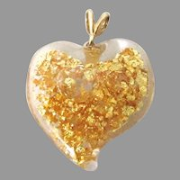 14k Gold Witches Heart Pendant 22k Gold Flakes Floating