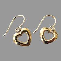 14K Yellow Gold JCM Open Heart Dangle Earrings in Box