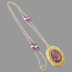 Stunning Edwardian Amethyst Paste Locket Necklace