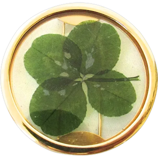 English Vermeil Four Leaf Clover Brooch Fur Clip