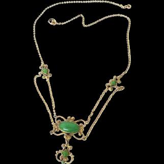 Edwardian Chrysoprase Gold Festoon Necklace