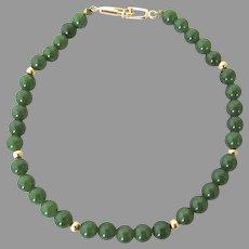 Vintage 14k Gold Jade Bead Bracelet