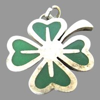 Enamel Four Leaf Clover Sterling Silver Charm Germany