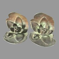 Art Nouveau Bronze Bookends Frog Water Lily Pad Toad
