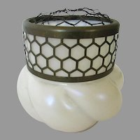 Kralik Bohemian Art Glass Flower Frog Vase Opalescent