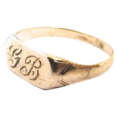 10K Yellow Gold Signet Ring Baby Child Midi Monogram GB Initials