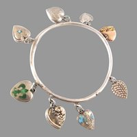Enamel Turquoise Puffy Heart Victorian Bangle Bracelet 8 Charms Sterling Silver