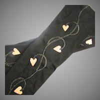 Pristine Gold Lame Hearts French Black Silk Evening Opera Gloves